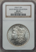 Morgan Dollars: , 1904-O $1 MS65 NGC. Ex: Jules River Collection. NGC Census:(15742/1469). PCGS Population (10477/838). Mintage: 3,720,000. ...