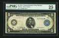 Large Size:Federal Reserve Notes, Fr. 847a* $5 1914 Federal Reserve Note PMG Very Fine 25.. ...