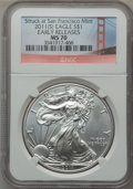 Modern Bullion Coins, 2011-(S) $1 Silver Eagle, Early Releases Struck at San FranciscoMint MS70 NGC. NGC Census: (0). PCGS Population (22681)....