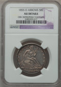 Seated Half Dollars: , 1855-O 50C Arrows -- Obv Improperly Cleaned -- NGC Details. AU. NGCCensus: (22/353). PCGS Population (44/325). Mintage: 3,...