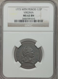 Colonials: , 1773 1/2P Virginia Halfpenny, Period MS62 Brown NGC. NGC Census:(26/37). PCGS Population (55/129). ...