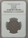 Colonials: , 1787 COPPER New Jersey Copper, Outlined Shield VF35 NGC. NGCCensus: (7/24). PCGS Population (29/110). ...