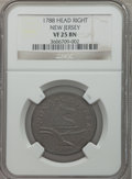 Colonials: , 1788 COPPER New Jersey Copper, Head Right VF25 NGC. NGC Census:(4/4). PCGS Population (9/36). ...
