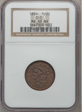 Half Cents: , 1854 1/2 C MS63 Brown NGC. C-1. NGC Census: (125/175). PCGSPopulation (115/87). Mintage: 55,358. Numismedia Wsl. Price fo...
