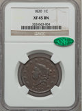 Large Cents: , 1820 1C Large Date XF45 NGC. CAC. NGC Census: (10/534). PCGSPopulation (2/470). Mintage: 4,407,550. Numismedia Wsl. Price ...