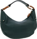 Luxury Accessories:Bags, Gucci Dark Green Leather Hobo Bag with Bamboo Accents. ...