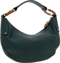 Gucci Dark Green Leather Hobo Bag with Bamboo Accents