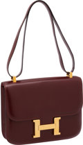 Luxury Accessories:Bags, Hermes Rouge H Calf Box Leather Constance Bag with Gold Hardware....