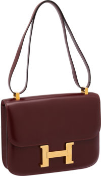Hermes Rouge H Calf Box Leather Constance Bag with Gold Hardware