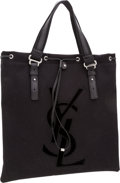 Luxury Accessories:Bags, Yves Saint Laurent Black Canvas & Velvet Kahala Tote Bag. ...