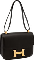 Luxury Accessories:Bags, Hermes 23cm Double Gusset Black Swift Leather Constance Bag with Gold Hardware. ...