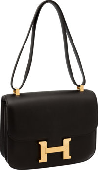 Hermes 23cm Double Gusset Black Swift Leather Constance Bag with Gold Hardware