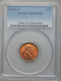 Lincoln Cents: , 1946-S 1C MS67 Red PCGS. PCGS Population (73/0). NGC Census:(564/0). Mintage: 198,100,000. Numismedia Wsl. Price for probl...