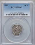 Three Cent Nickels: , 1882 3CN MS62 PCGS. PCGS Population (7/76). NGC Census: (2/42). Mintage: 22,200. Numismedia Wsl. Price for problem free NGC...
