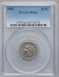 1882 3CN MS62 PCGS. PCGS Population (7/76). NGC Census: (2/42). Mintage: 22,200. Numismedia Wsl. Price for problem free...
