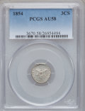 Three Cent Silver: , 1854 3CS AU58 PCGS. PCGS Population (40/251). NGC Census: (24/266).Mintage: 671,000. Numismedia Wsl. Price for problem fre...