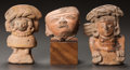 Pre-Columbian:Ceramics, THREE MAYA OBJECTS: A HEAD AND TWO FIGURES. c. 600 - 800 AD...(Total: 3 Items)