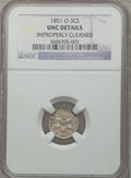 Three Cent Silver: , 1851-O 3CS -- Improperly Cleaned -- NGC Details. Unc. NGC Census:(3/328). PCGS Population (6/317). Mintage: 720,000. Numis...
