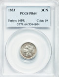 Proof Three Cent Nickels: , 1883 3CN PR64 PCGS. PCGS Population (466/920). NGC Census:(315/879). Mintage: 6,609. Numismedia Wsl. Price for problem fre...