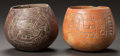 Pre-Columbian:Ceramics, A LOT OF TWO MAYA BOWLS WITH INCISED DECORATION. c. 600 - 900 AD...(Total: 2 Items)