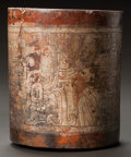 Pre-Columbian:Ceramics, A MAYA VESSEL WITH FINE LINE INCISING. c. 600 - 900 AD...