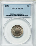Proof Shield Nickels: , 1876 5C PR64 PCGS. PCGS Population (145/111). NGC Census:(102/115). Mintage: 1,150. Numismedia Wsl. Price for problemfree...