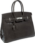 Luxury Accessories:Bags, Hermes 35cm Shiny Graphite Porosus Crocodile Birkin Bag withPalladium Hardware. ...