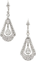 Estate Jewelry:Earrings, Diamond, Platinum, Pink Gold Earrings. ...