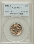 Buffalo Nickels: , 1935-D 5C MS64 PCGS. PCGS Population (1104/583). NGC Census:(606/315). Mintage: 12,092,000. Numismedia Wsl. Price for prob...