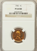 Proof Lincoln Cents: , 1942 1C PR64 Red NGC. NGC Census: (405/314). PCGS Population(1132/573). Mintage: 32,600. Numismedia Wsl. Price for problem...