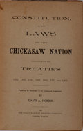 Books:Americana & American History, [American Indians] Constitution, and Laws of the ChickasawNation Together With the Treaties of 1832, 1833, 1834, 1837,...