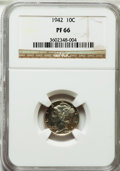 Proof Mercury Dimes: , 1942 10C PR66 NGC. NGC Census: (1455/862). PCGS Population(1572/639). Mintage: 22,329. Numismedia Wsl. Price for problem f...