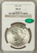 Peace Dollars: , 1923 $1 MS65 NGC. CAC. NGC Census: (34239/2971). PCGS Population(15047/1704). Mintage: 30,800,000. Numismedia Wsl. Price f...