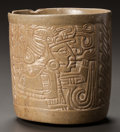 Pre-Columbian:Ceramics, A MAYA VESSEL WITH A MOLDED FIGURE IN PROFILE. c. 600 - 900 AD...