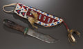 American Indian Art:Beadwork and Quillwork, A SIOUX BEADED HIDE KNIFE SHEATH. c. 1910... (Total: 2 )