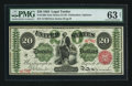 Large Size:Legal Tender Notes, Fr. 126b $20 1863 Legal Tender PMG Choice Uncirculated 63 Net.. ...