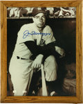 """Autographs:Photos, Joe DiMaggio Signed Photograph. Attractive 11x14"""" black and whitephoto features the mighty Joe D on the dugout steps as he..."""