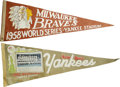 Baseball Collectibles:Others, 1958 & 1962 Vintage World Series Pennants Lot of 2. Brilliantpair of World Series pennants from Fall Classic taking place ...