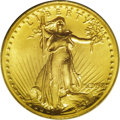 High Relief Double Eagles: , 1907 $20 High Relief, Wire Rim MS63 PCGS. The satiny yellow-gold surfaces reveal touches of greenish patina in the fields t...
