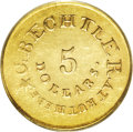 Territorial Gold: , (1834-37) $5 C.Bechtler Five Dollar, 20 Distant AU58 PCGS. K-19,High R.6. A rare variety with the 20 distant from the word...