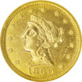 Territorial Gold: , 1860 $2 1/2 Clark, Gruber & Co. Quarter Eagle MS62 NGC. K-1,R.4. This beautiful greenish-gold piece has much luster radiat...