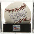 "Autographs:Baseballs, Robert Scott Single Signed Inscription Baseball, PSA Mint 9. Theformer Negro League great adds an inscription reading ""New ..."