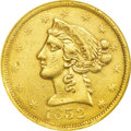 Territorial Gold: , 1852 $5 Wass Molitor Five Dollar, Small Head AU55 NGC. K-1, R.6.This pretty Choice AU piece has the Small Head with a roun...