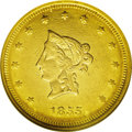 Territorial Gold: , 1855 $20 Wass Molitor Twenty Dollar, Small Head AU55 NGC. K-7, R.6.When the treasure of the S.S. Central America was l...
