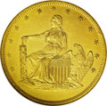 Patterns: , 1859 P$20 Twenty Dollar, Judd-257, Pollock-305, High R.6, PR63 Gilt NGC. A seated figure of Liberty faces left on the obver...