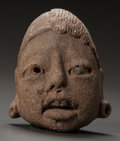 Pre-Columbian:Ceramics, AN OLMEC HEAD FRAGMENT. c. 1200 - 600 BC...