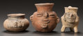 Pre-Columbian:Ceramics, THREE MAYA VESSELS WITH HUMAN FACES. c. 600 - 900 AD... (Total: 3Items)