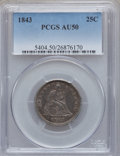 Seated Quarters: , 1843 25C AU50 PCGS. PCGS Population (2/52). NGC Census: (1/83).Mintage: 645,600. Numismedia Wsl. Price for problem free NG...