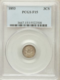 Three Cent Silver: , 1853 3CS Fine 15 PCGS. PCGS Population (5/850). NGC Census:(2/653). Mintage: 11,400,000. Numismedia Wsl. Price for problem...