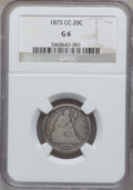 Twenty Cent Pieces: , 1875-CC 20C Good 6 NGC. NGC Census: (23/702). PCGS Population(57/1172). Mintage: 133,290. Numismedia Wsl. Price for proble...